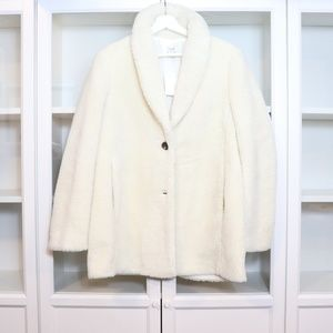 J.Crew Faux Fur Teddy Shawl Collar Jacket Size M